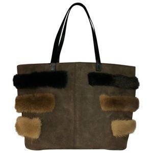 Renaud Pellegrino Fur Trim  Suede Leather Tote
